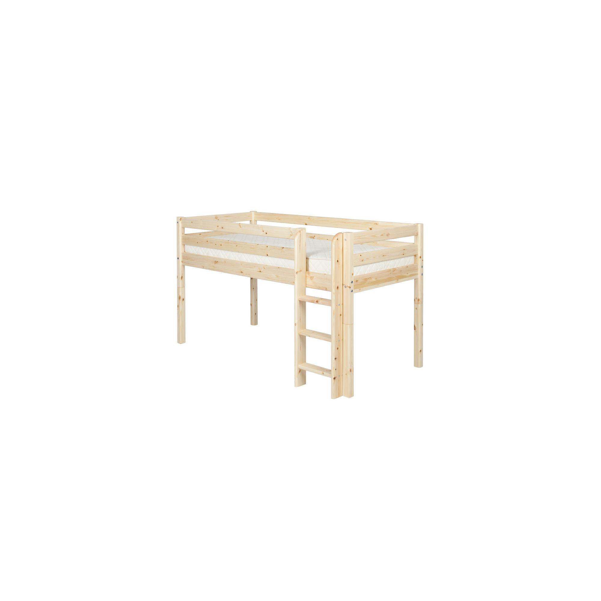 Flexa Classic Mid-High Bed with Straight Ladder - Natural Lacquer at Tesco Direct