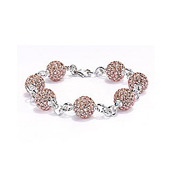 Jewelco London Sterling Silver Crystal 10mm Disco Ball Shamballa Bracelet - Peach Champagne