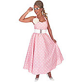 50's Pink Polka Dot Day Dress - XL