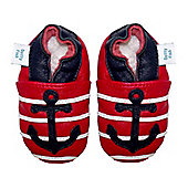 Dotty Fish Soft Leather Baby Shoe - Red and Navy Anchor - 0-6 mths
