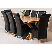 Vermont Solid Oak Extending 200 - 240 cm Dining Table with 8 Black Montana Leather Chairs