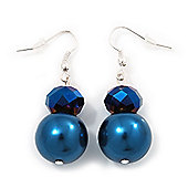 Blue Bead Drop Earrings In Silver Plated Metal - 4.5cm Length