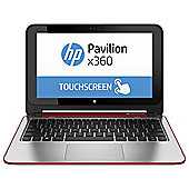 "HP x360 11-n012na, 11.6"" Convertible Touchscreen Laptop, Intel Celeron, 4GB RAM, 500GB - Red"