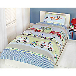Rapport Kids Emergency Vehicles Single Quilt Set Multi Coloured