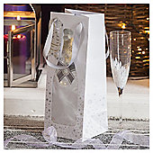 Silver Champagne Bottle Christmas Bottle Bag