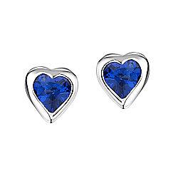 Jo For Girls Sapphire CZ Heart Stud Earrings