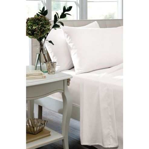 Catherine Lansfield White Box Pleated Fitted Valance - Double