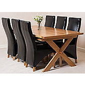 Vermont Solid Oak Crossed Leg 200 cm Extending Dining Table with 6 Lola Leather Dining Chairs (Black)