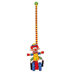 Bigjigs Toys Circus Push Along (Clown with Yellow Hat/Blue Wheels)