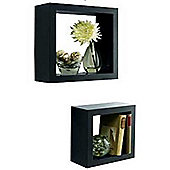 Box - Wall Storage / Display Cubes - Set Of Two - Black