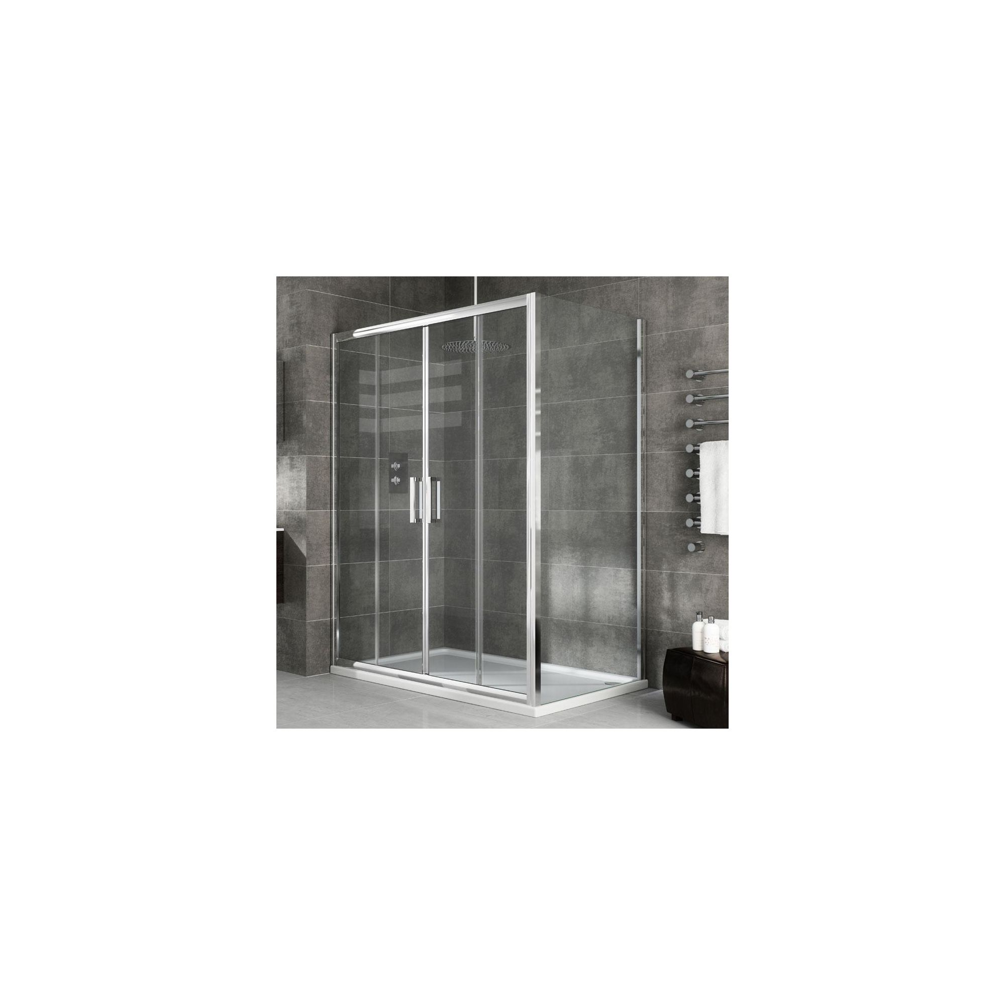 Elemis Eternity Two-Panel Jumbo Sliding Door Shower Enclosure, 1100mm x 800mm, 8mm Glass, Low Profile Tray at Tesco Direct