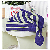 Clair De Lune Knitted Striped Blanket, Green & Purple