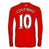 2013-14 Liverpool Long Sleeve Home Shirt (Coutinho 10) - Kids - Red