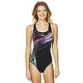 Speedo Endurance®+ Graphic Sketch Print Muscle Back Swimsuit - Black