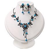 Delicate Y-Shape Blue Rose Necklace & Drop Earring Set In Black Metal