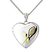 Silver and 9ct Gold Diamond Set Pendant Locket with Chain