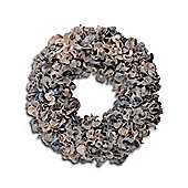 Medium Stylish Grey & Cream Coloured Modern Round Christmas Wreath with Glitter Finish