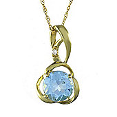 Gemondo 9ct Yellow Gold 0.85ct Natural Blue Topaz & Diamond Classic Pendant on Chain