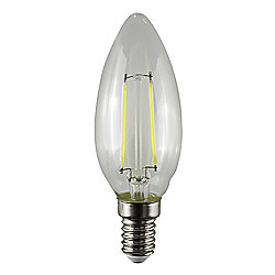 Vintage 2W LED Filament Clear Candle Lightbulb SES E14 - Cool White