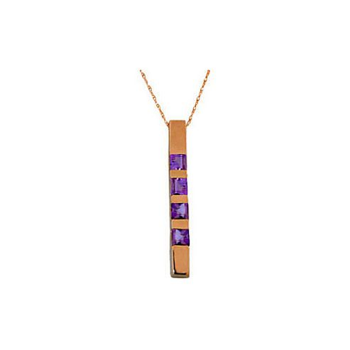 QP Jewellers 20in 0.68mm Bar Necklace with 0.35ct Amethyst Pendant in 14K Rose Gold