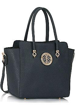 KCMODE Womens Navy Polished Metal Shoulder Handbag