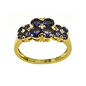Gemondo Gold Plated Silver 1.16ct Iolite & 2pt Diamond Three Flower Ring