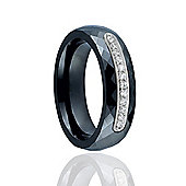 Jewelco London Sterling Silver cubic zirconia Black Ceramic Eternity Style Fashion Ring Size