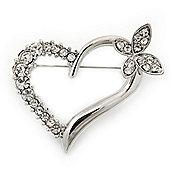 Open Diamante Heart&Butterfly Brooch In Rhodium Plated Metal - 4cm Length