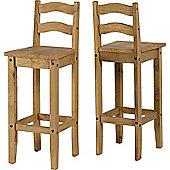 Corona Mexican Bar Chairs Pair Distressed Waxed Pine