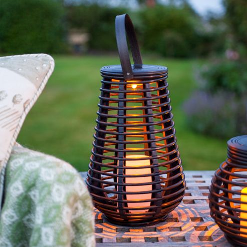 buy tall rattan solar powered led garden lantern from our. Black Bedroom Furniture Sets. Home Design Ideas