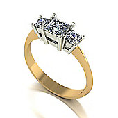 18ct Gold 3 Stone Square Centre Moissanite Ring