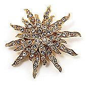 Vintage Gold Tone Swarovski Crystal Star Brooch/Pendant