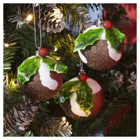 Puddings Christmas Tree Decorations, 3 pack