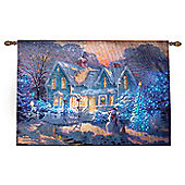 Thomas Kinkade Christmas Blessings Illuminated Hanging Tapestry