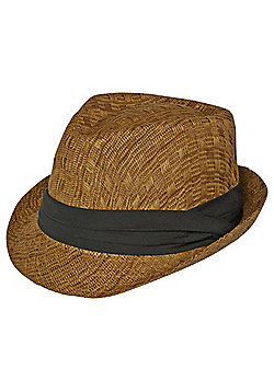 F&F Contrast Band Dark Straw Trilby - Brown