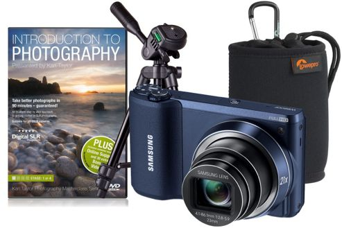 Samsung WB800F Black Camera Kit inc Training DVD, Desktop Tripod and Case