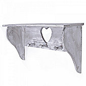 Rustic Heart Wooden Shelf With Hooks For The Home