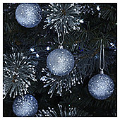 Silver Glitter Sequin Christmas Baubles, 6 pack