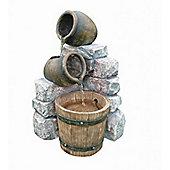Medium Two Pots & Wooden Barrel Water Feature