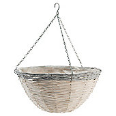16 inch Natural Hanging Basket  grey rim