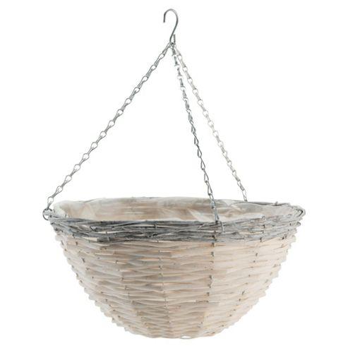 16 inch Natural Hanging Basket  grey rim