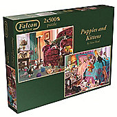 Falcon de Luxe Puppies and Kittens Jigsaw Puzzle (2x500pcs) - Games/Puzzles