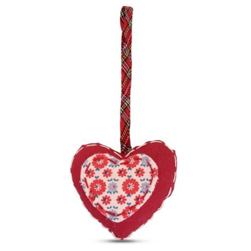 Hanging Floral Fabric Heart Shaped Christmas Tree Decorations