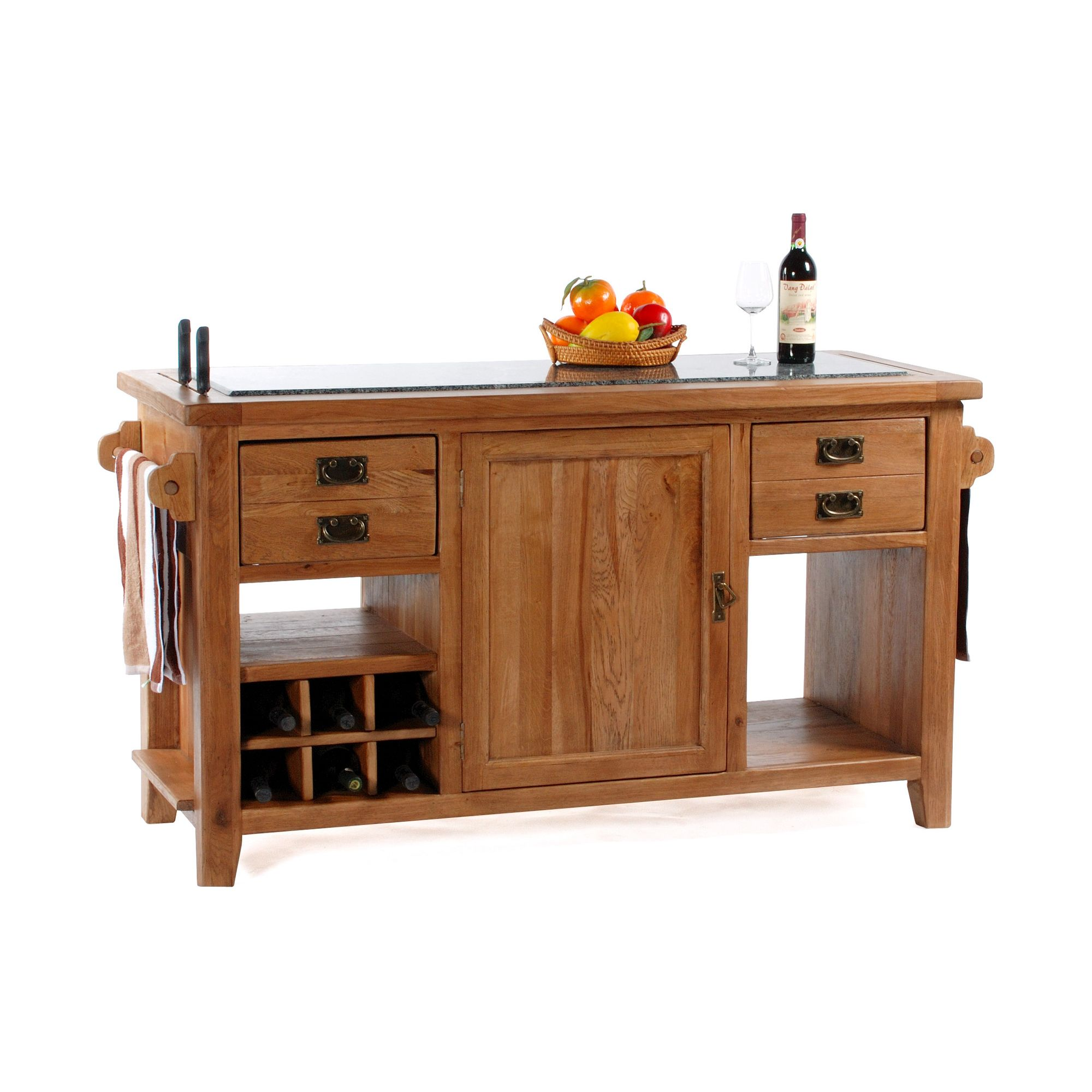 Wiseaction Florence Large Granite Top Kitchen Island at Tesco Direct