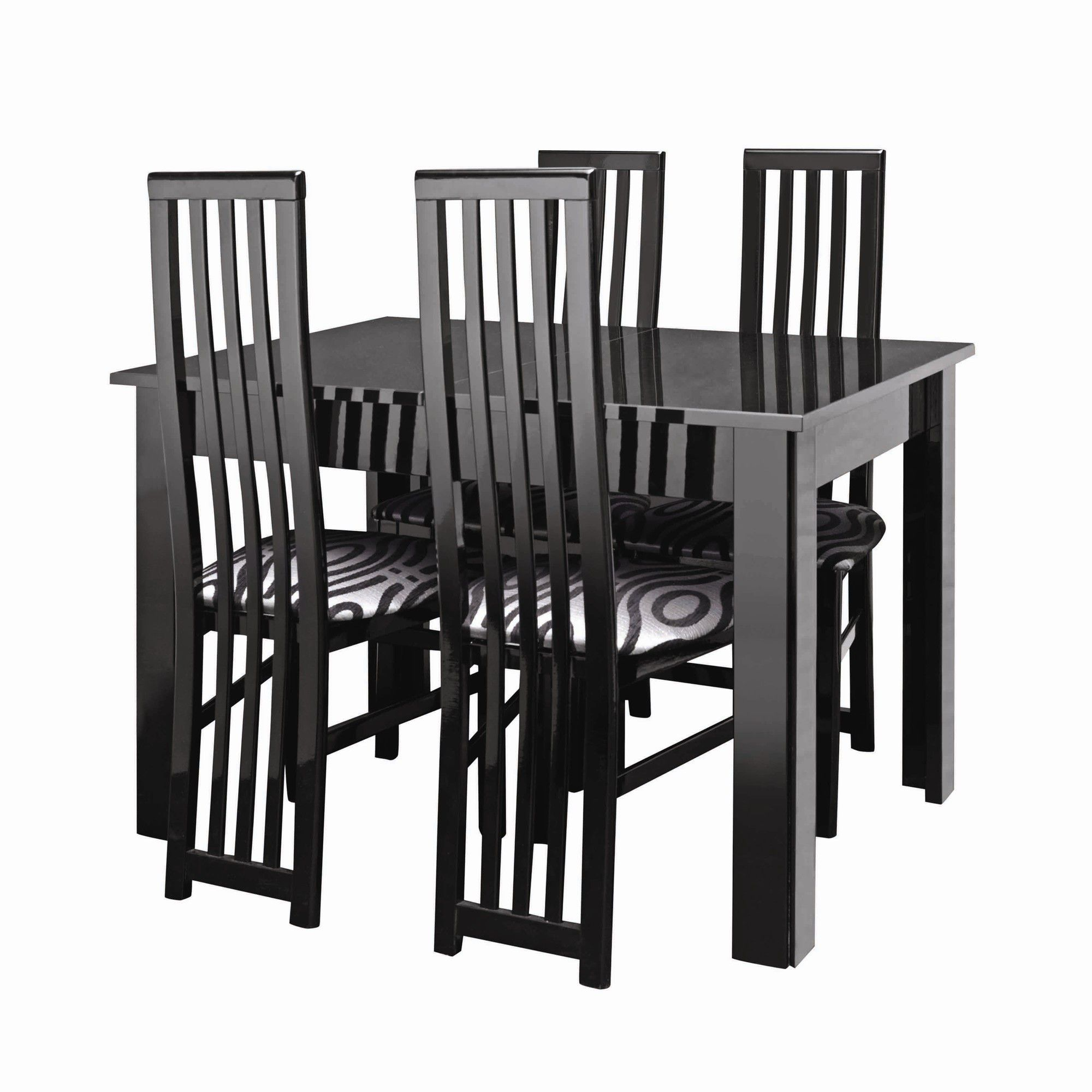 Caxton Manhattan Table with 4 Dining Chairs in Black Gloss at Tesco Direct