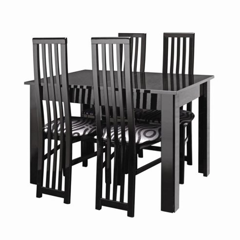 Caxton Manhattan Table with 4 Dining Chairs in Black Gloss