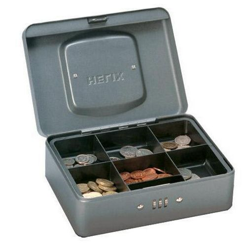 Helix Premium Combination Cash Box Metal 200mm 205x155x75mm Mercury (Ref WT7030)