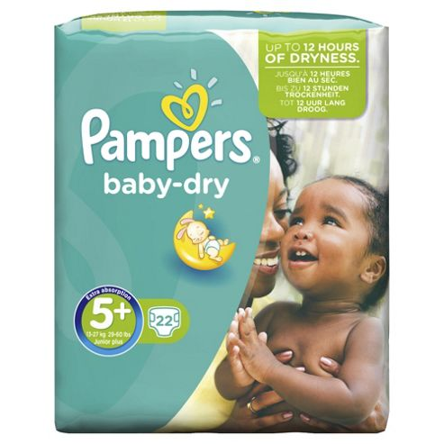 Pampers Baby Dry Size 5+ Carry Pack - 22 nappies