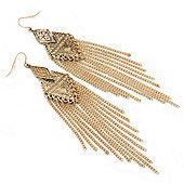 Long Vintage Hammered Chain Chandelier Earrings In Burn Gold Tone - 13cm Length
