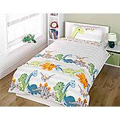 Dinosaur Toddler Bedding - Natural Stripe